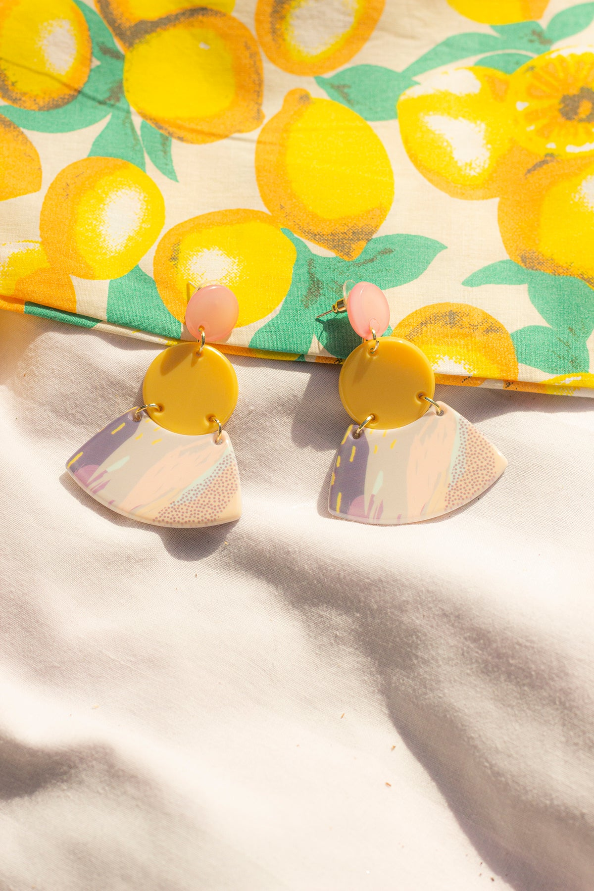 Trio Layer Pastel Ceramic Fan Earrings - Sugar + Style