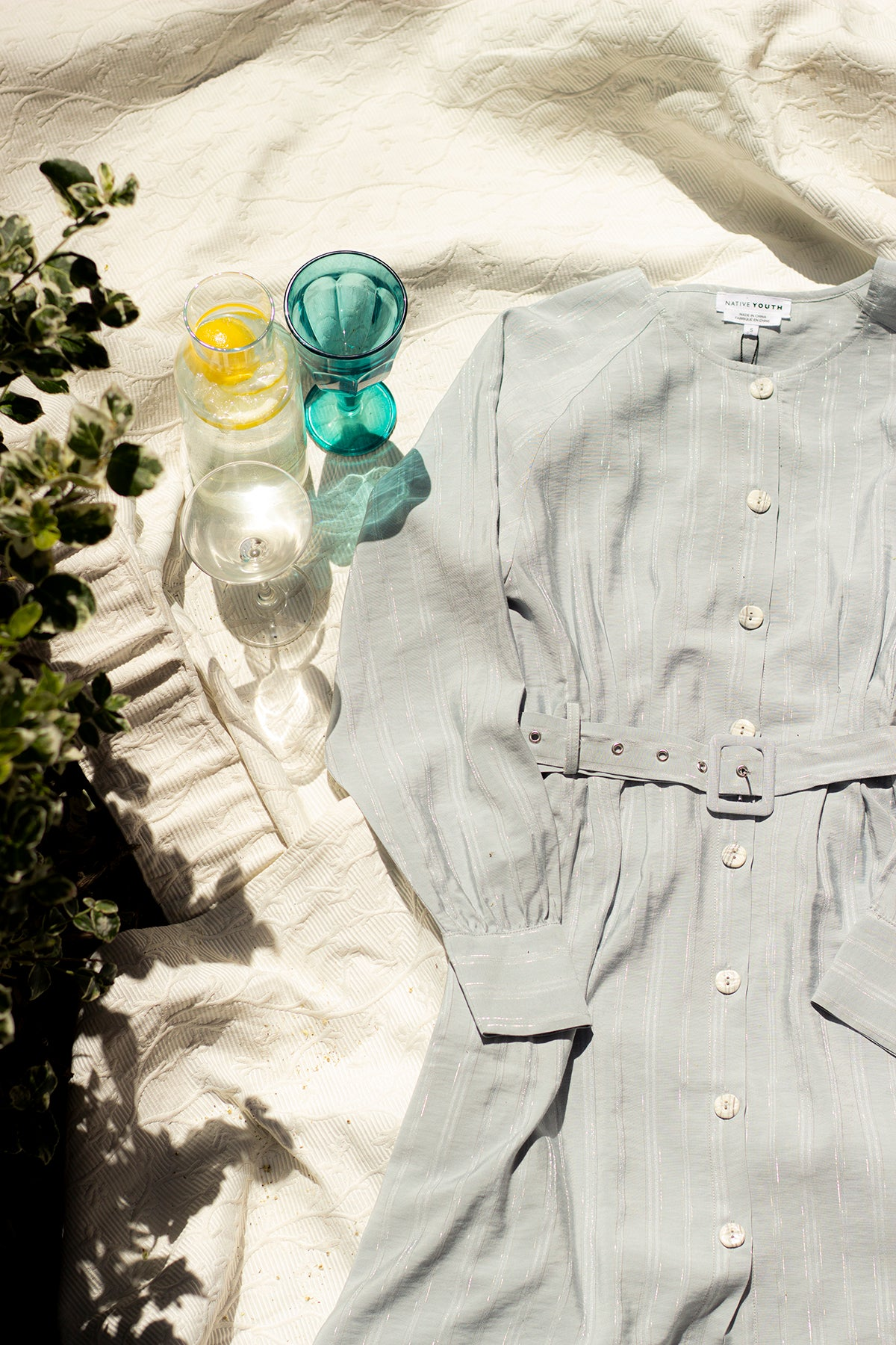 Button Down Striped Blue Shirt Dress with Fabric Belt - Sugar + Style