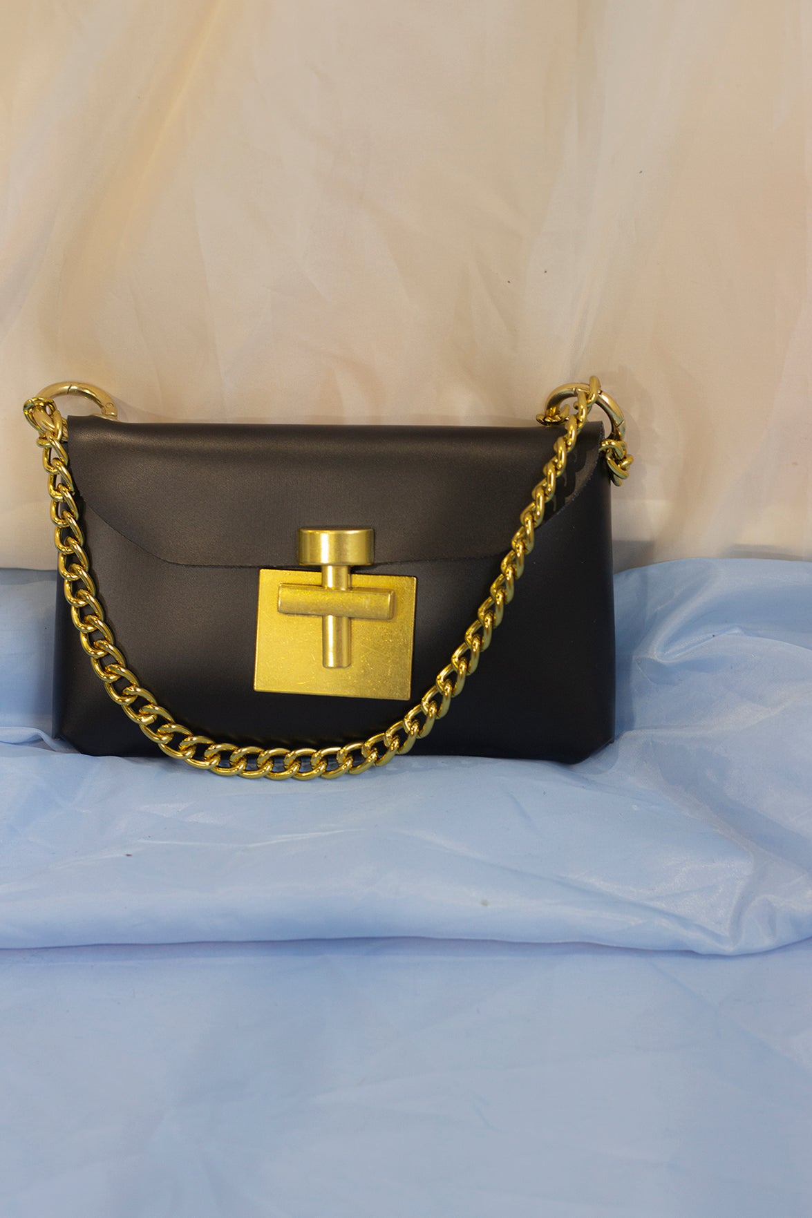 Black Micro Bag with Matte Gold Chain and Buckle - Sugar + Style
