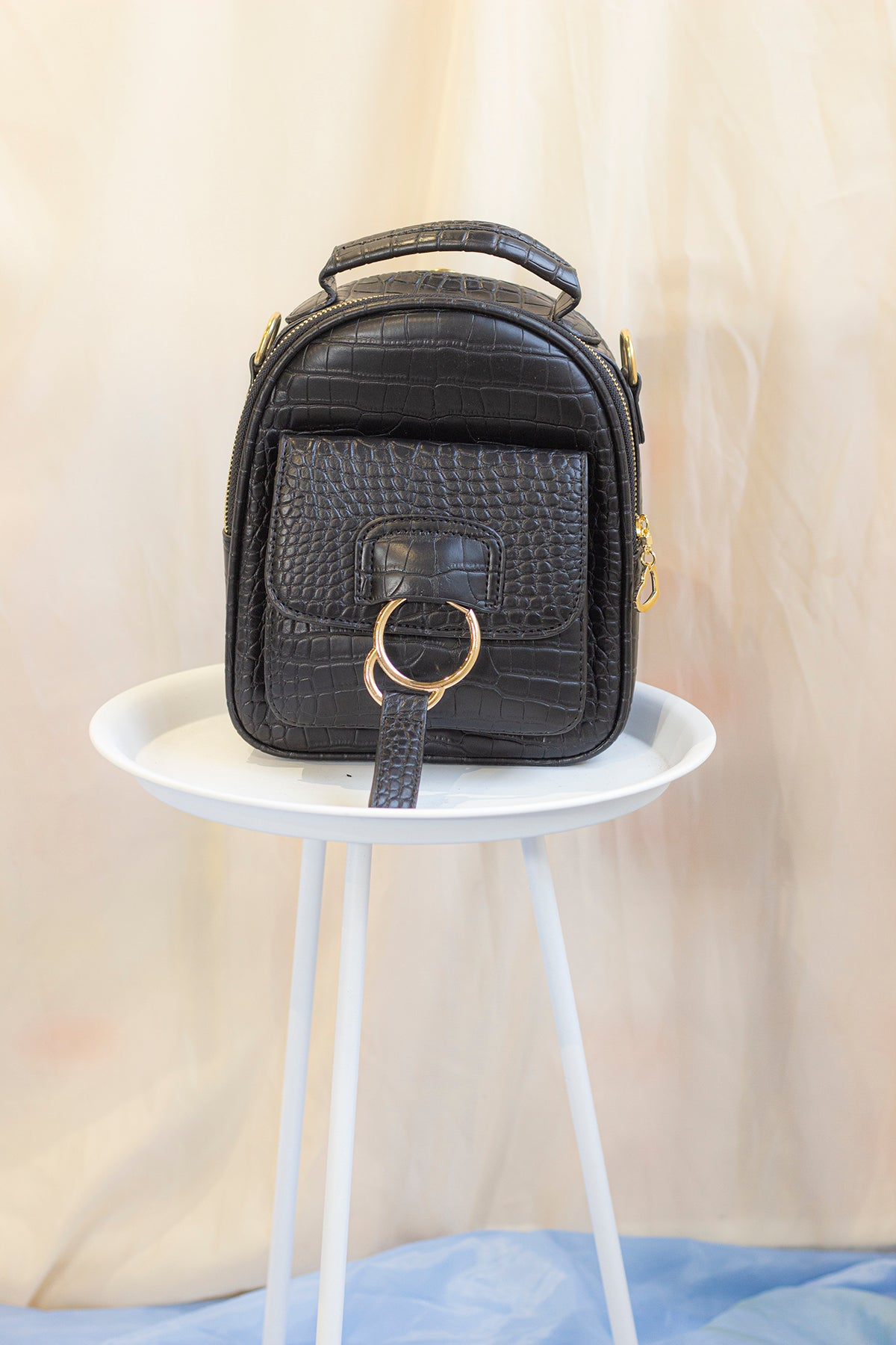 Mini Convertible Faux Croc Backpack - Sugar + Style