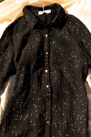 Sparkle Effect Shirt Dress - Sugar + Style