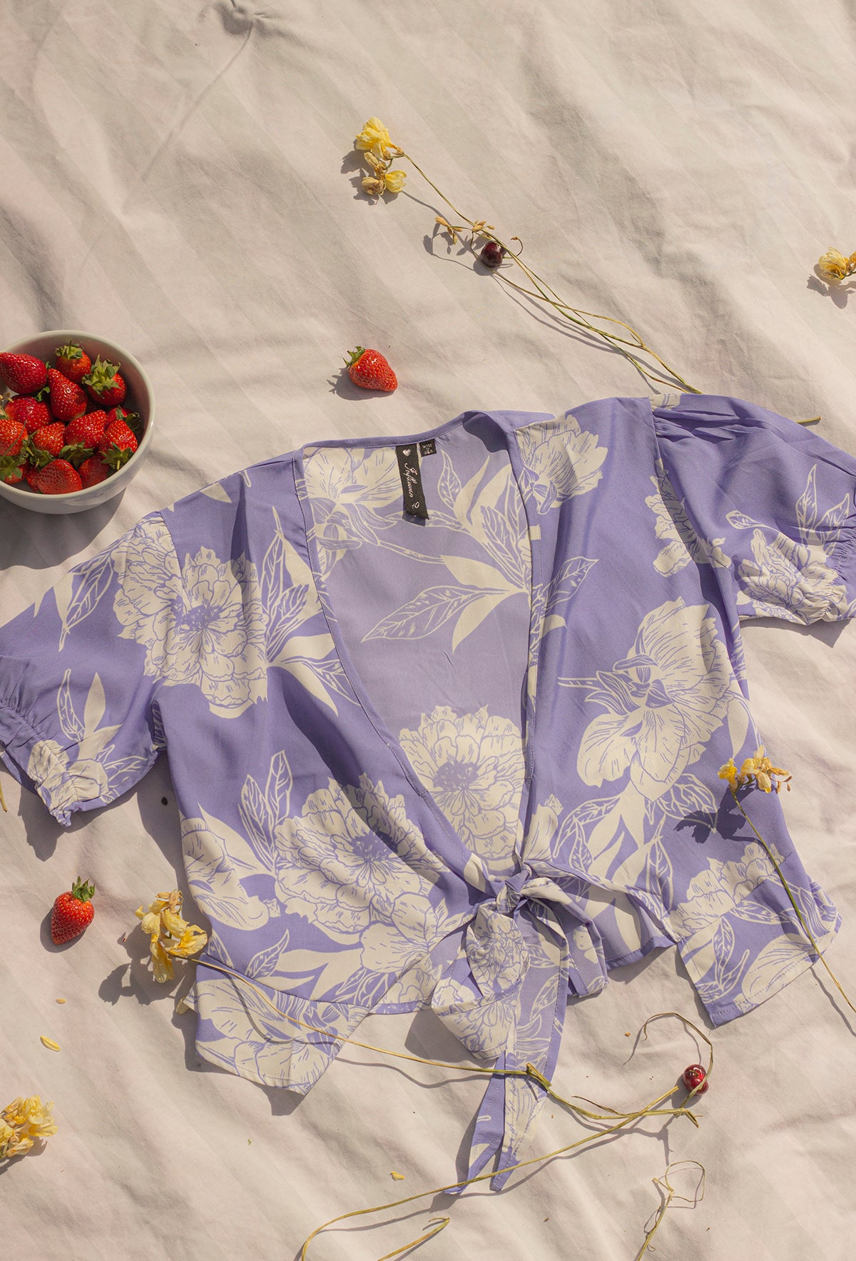 Tie Front Floral Print Blouse - Sugar + Style