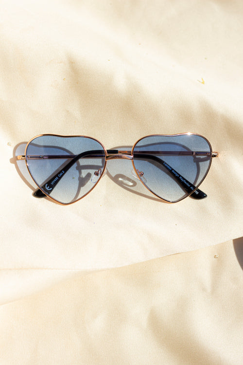 Blue Tint Heart Frame Sunglasses