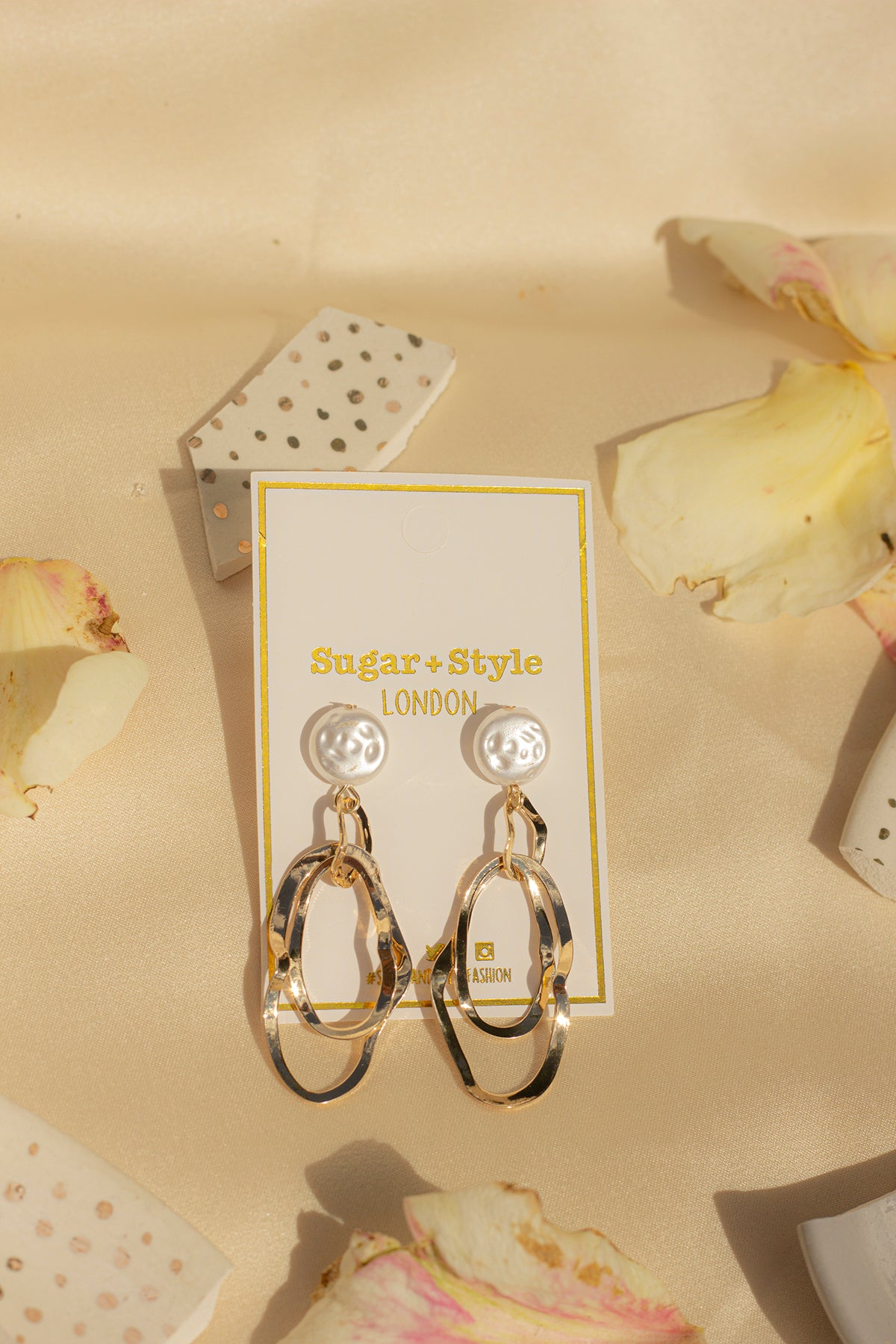 Rough Pearl Studs with Gold Wiggle Loop Earrings - Sugar + Style