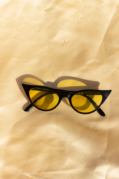 Black Cat Eye Yellow Tint Sunglasses