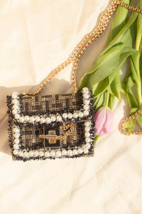 Crossbody Micro Bag with Pearl Frame