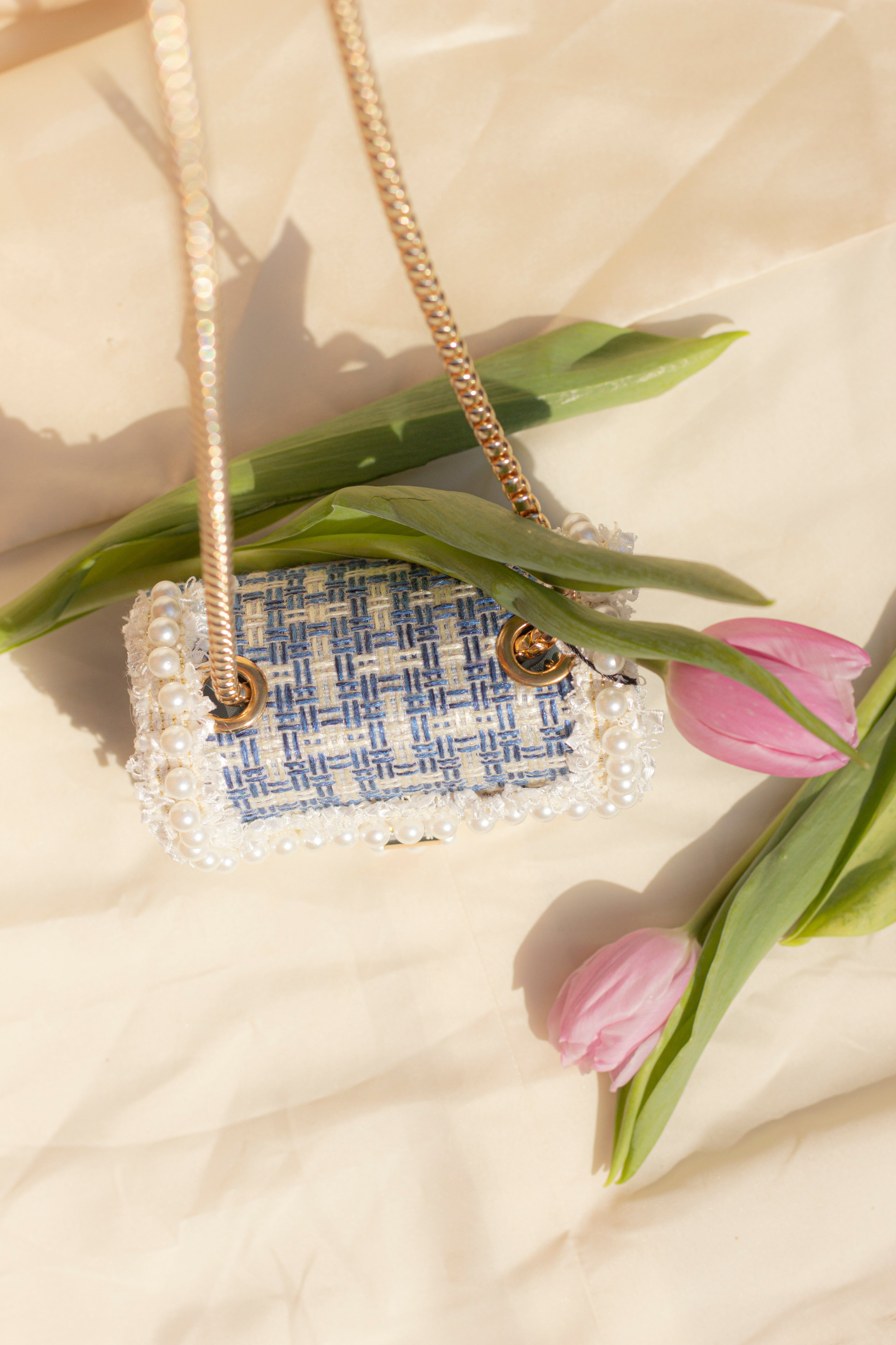 Crossbody Micro Bag with Pearl Frame - Sugar + Style