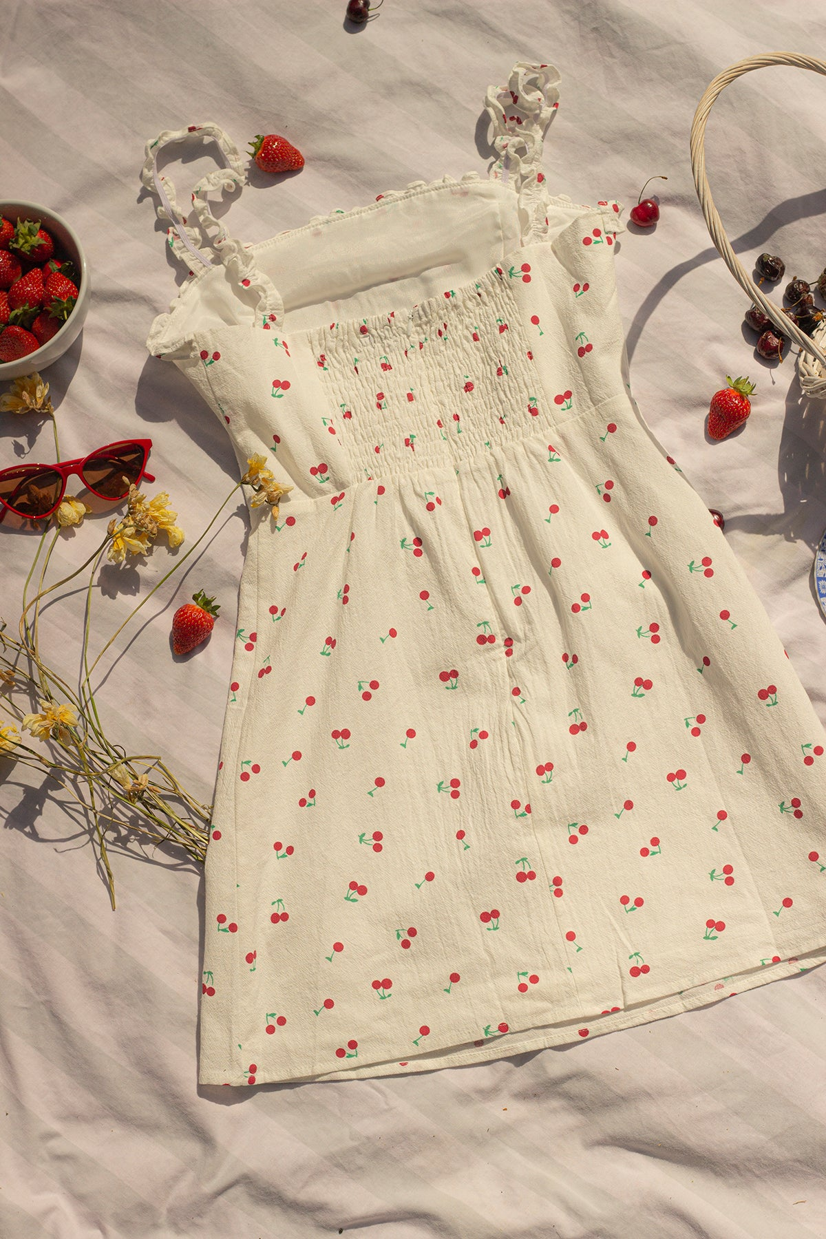 White Cherry Print Frill Sleeve Dress - Sugar + Style
