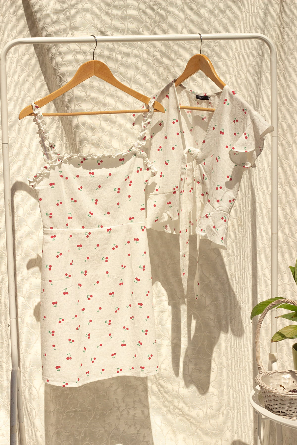 White Cherry Print Tie Front Blouse - Sugar + Style