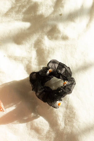 Black Netted Embroidered Daisy Scrunchie Hair Tie - Sugar + Style