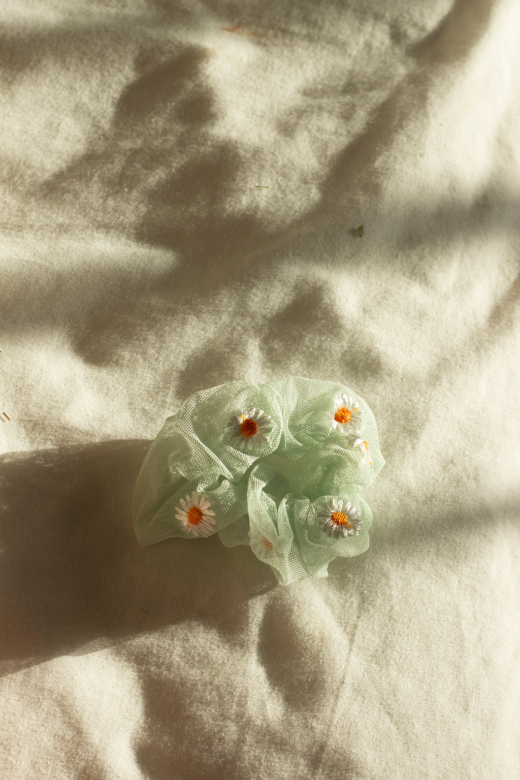 Mint Green Netted Embroidered Daisy Scrunchie Hair Tie - Sugar + Style