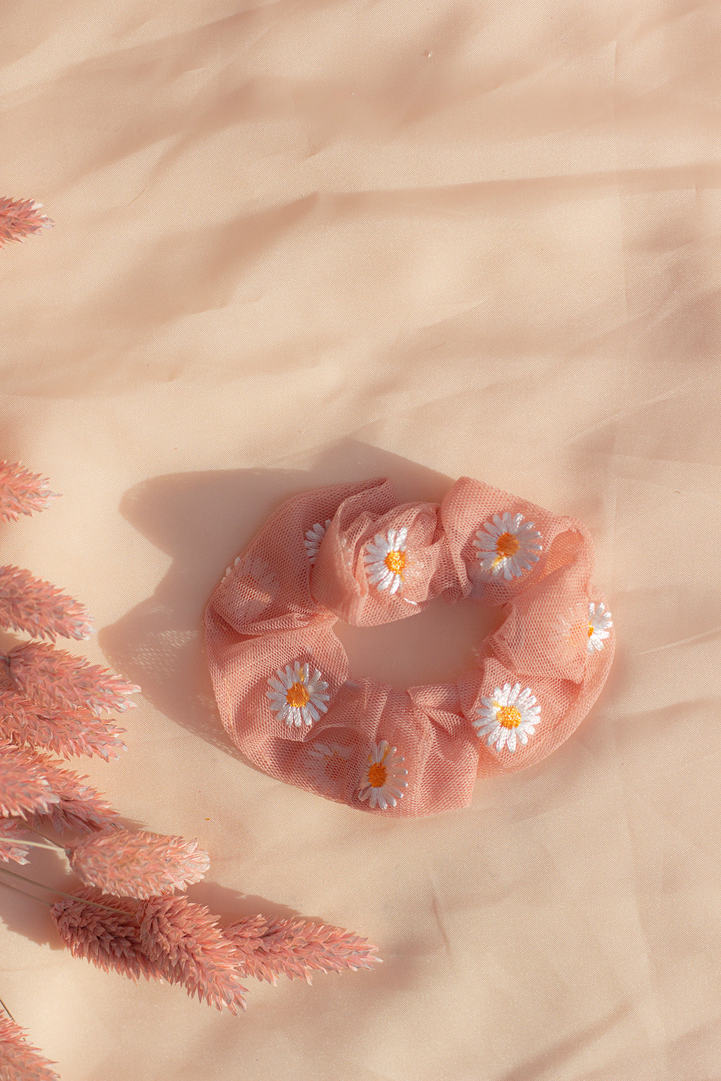 Pink Netted Embroidered Daisy Scrunchie Hair Tie - Sugar + Style