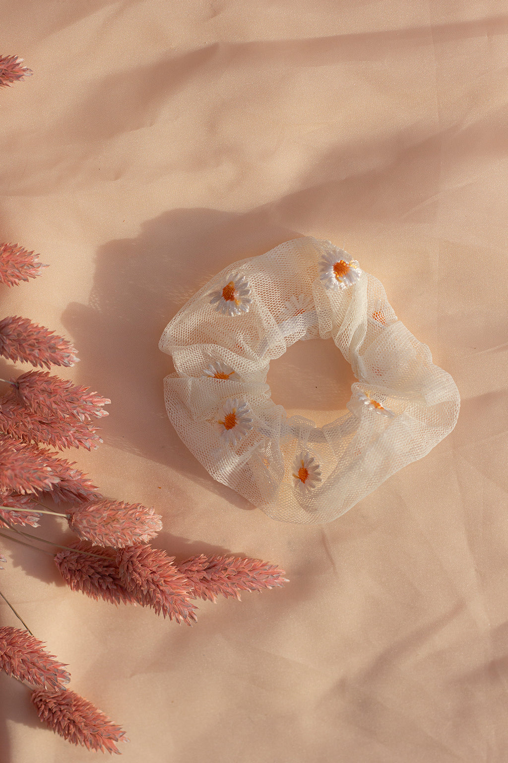 White Netted Embroidered Daisy Scrunchie Hair Tie - Sugar + Style