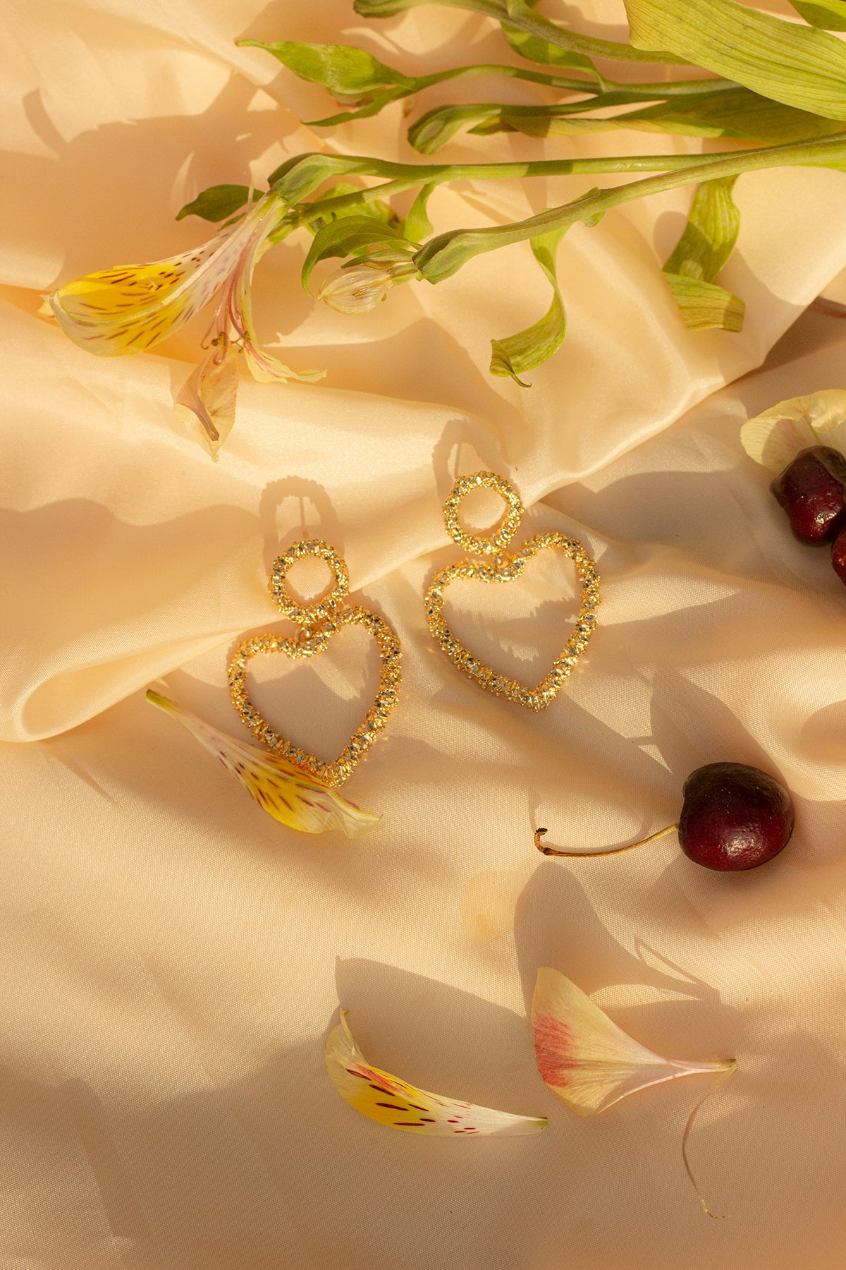Textured Gold Heart Earrings - Sugar + Style