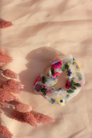 White Netted Embroidered Floral Scrunchie Hair Tie - Sugar + Style