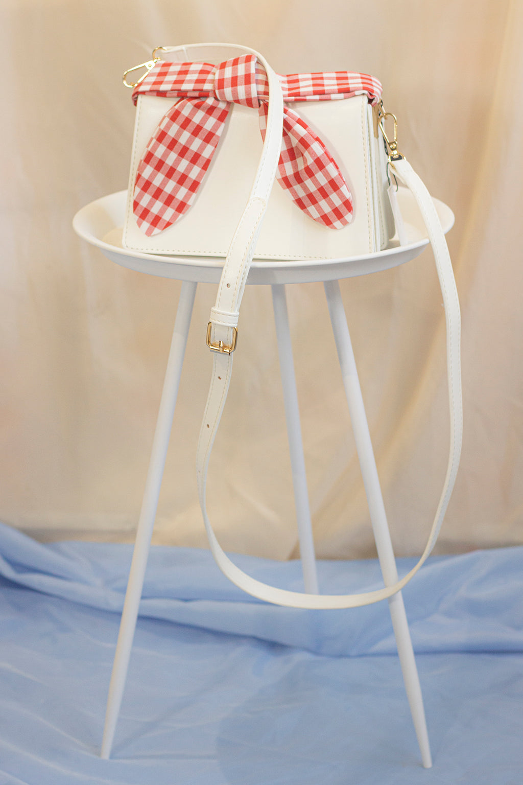 Messenger Bag With Gingham Picnic Handle - Sugar + Style