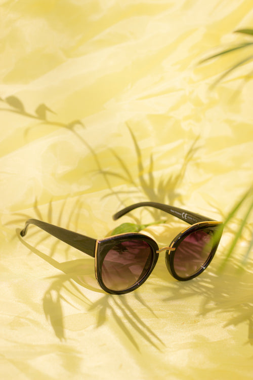 Gold Rim Cat Eye Sunglasses