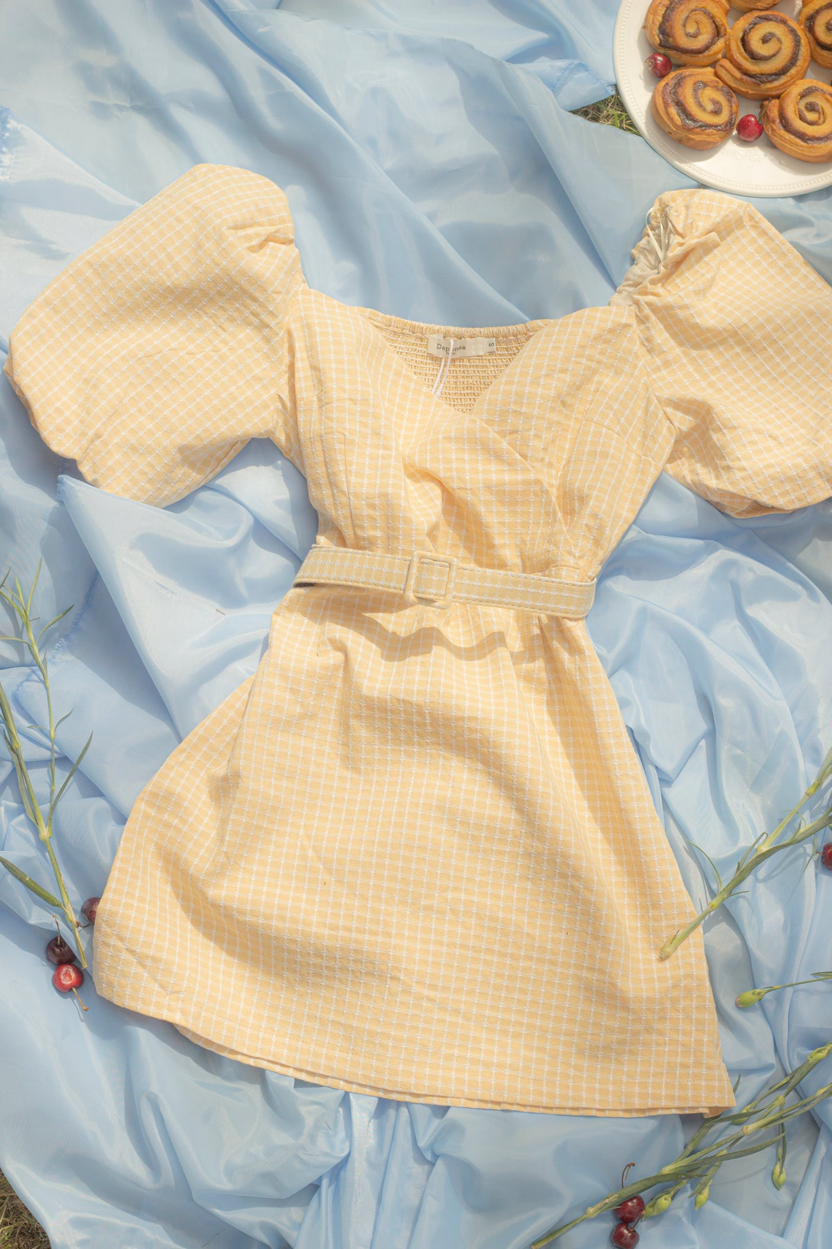 Sweetheart Neckline Grid Dress with Puff Sleeve and Belt - Sugar + Style