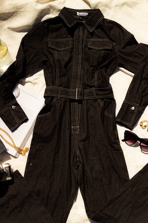Topstitch Boiler Workers Suit in a Black Denim - Sugar + Style