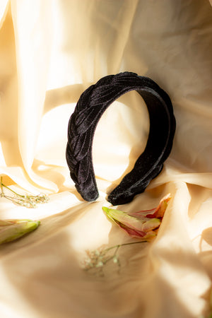 Midnight Black Plush Velvet Braided Headband - Sugar + Style