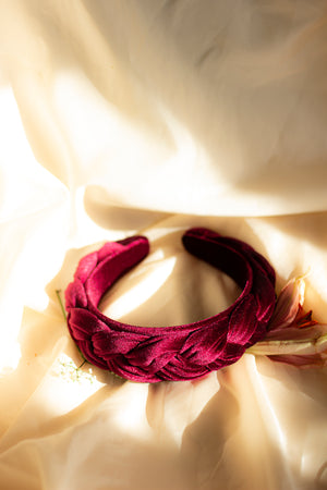 Berry Red Plush Velvet Braided Headband - Sugar + Style