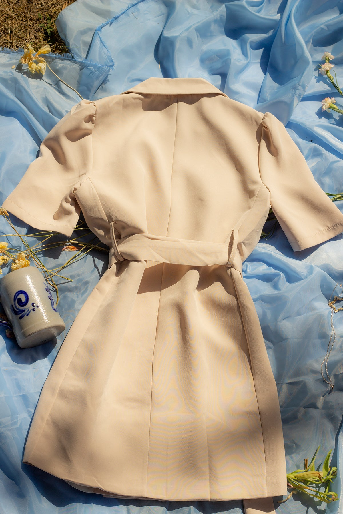 Double Breasted Blazer Suit Dress with Belt - Sugar + Style
