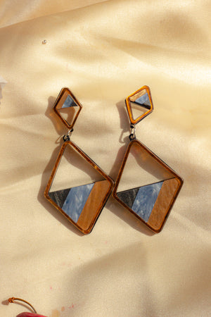 Pearlescent Diamond Shape Cut Out Earrings - Sugar + Style