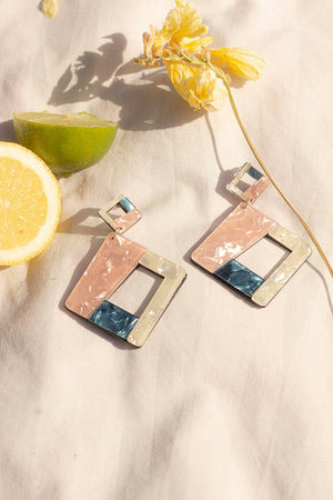 Pastel Pearlescent Geo Piece Earrings - Sugar + Style