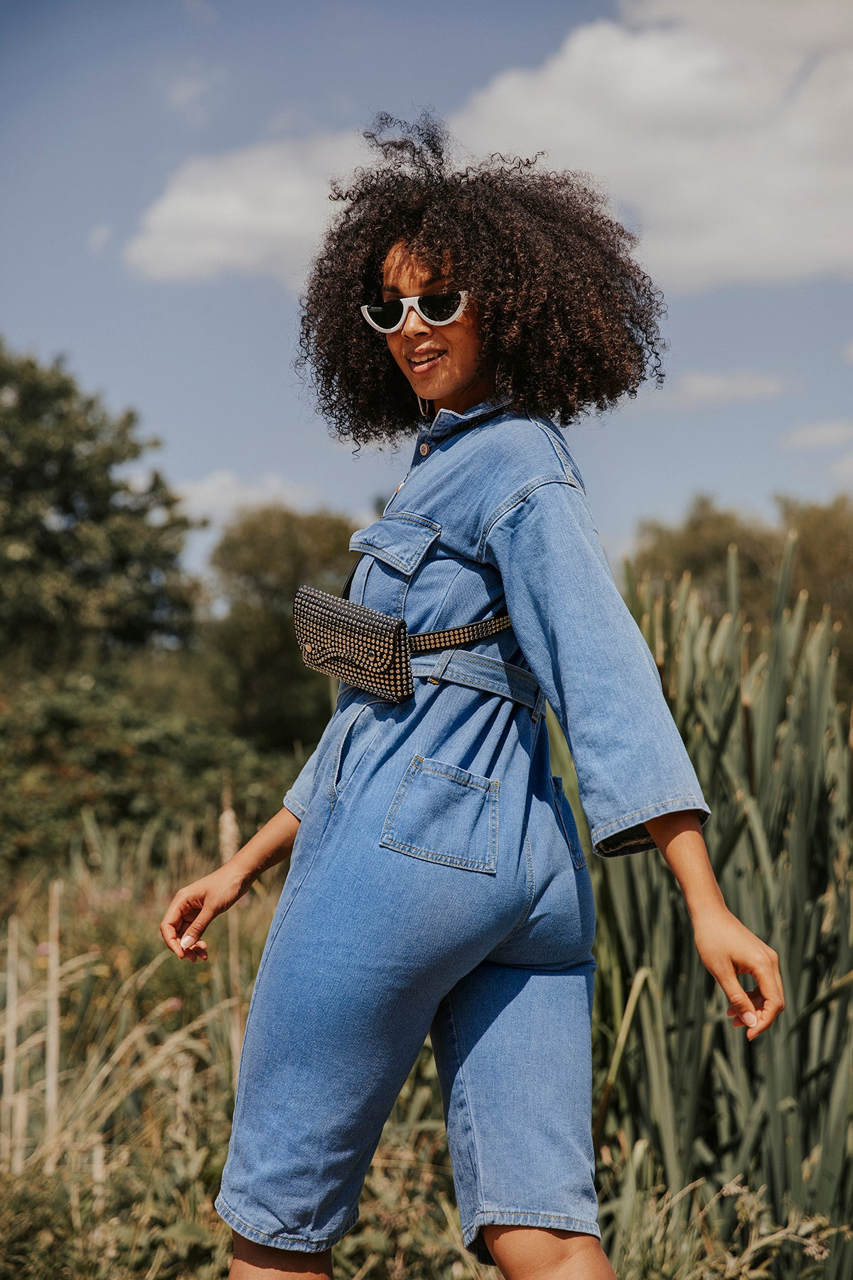 Cropped Denim Jumpsuit with Button Front and Belt - Sugar + Style