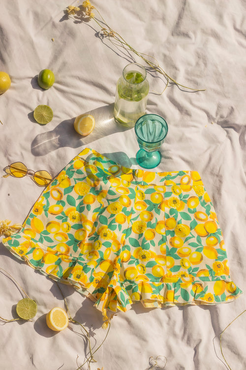 Lemon Print Cotton Shorts With Frill Hem