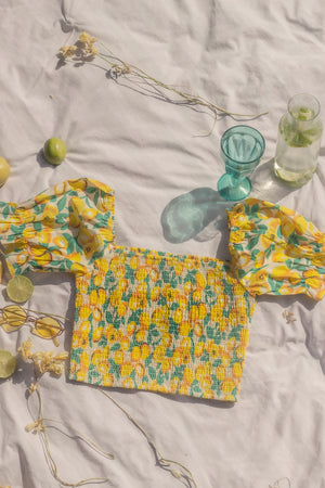 Yellow Shirred Lemon Top - Sugar + Style