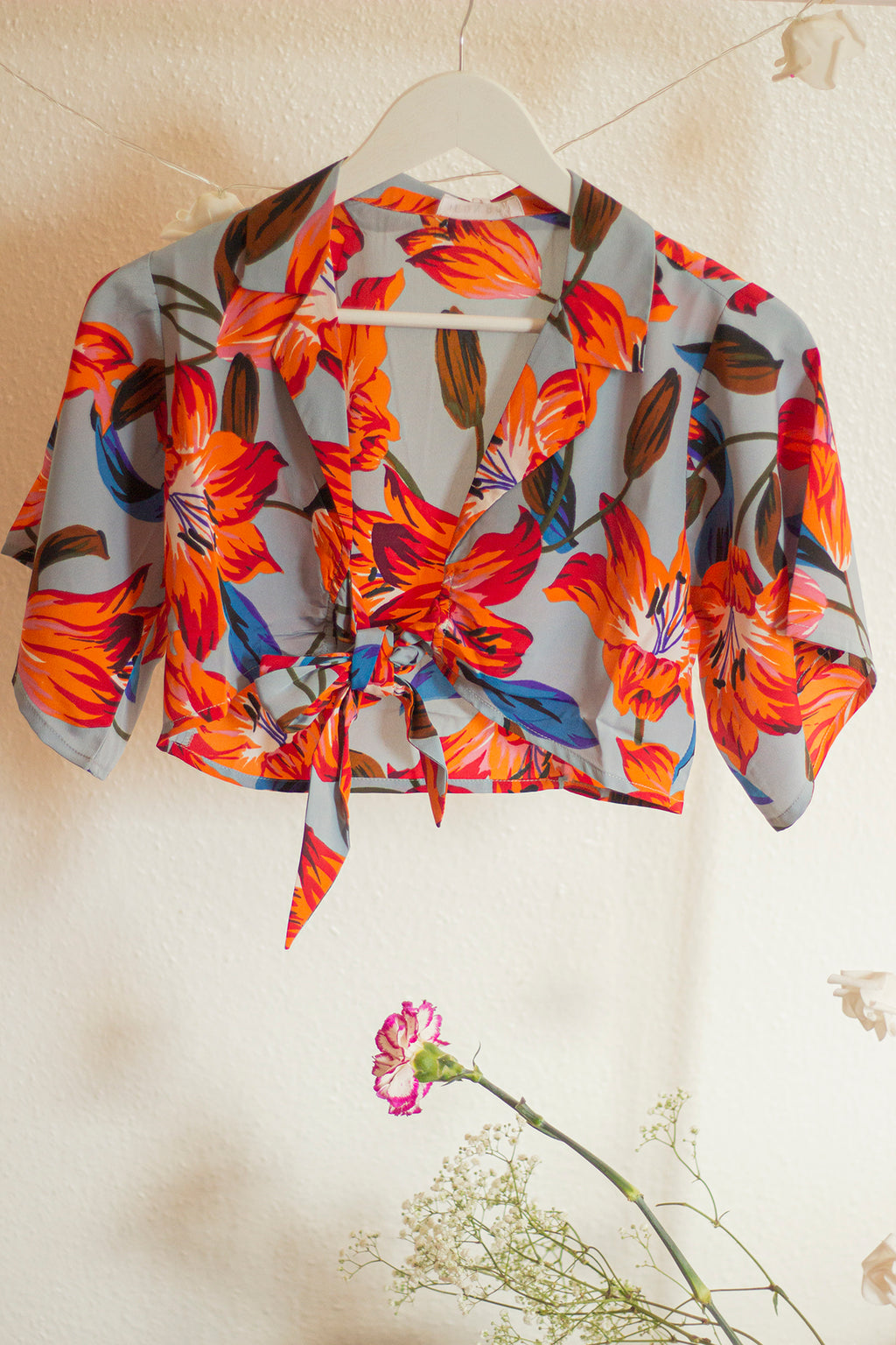 Blazer Style Tie Front Floral Blouse - Sugar + Style