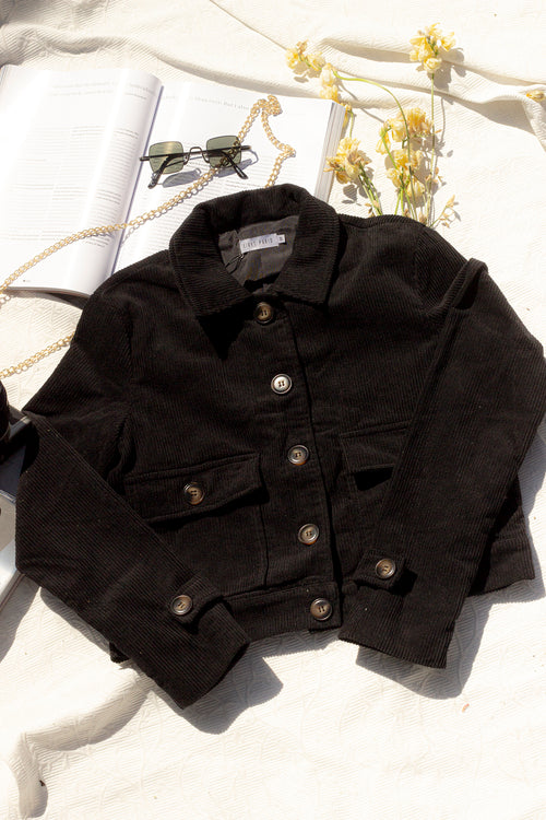 Cropped Corduroy Worker Jacket