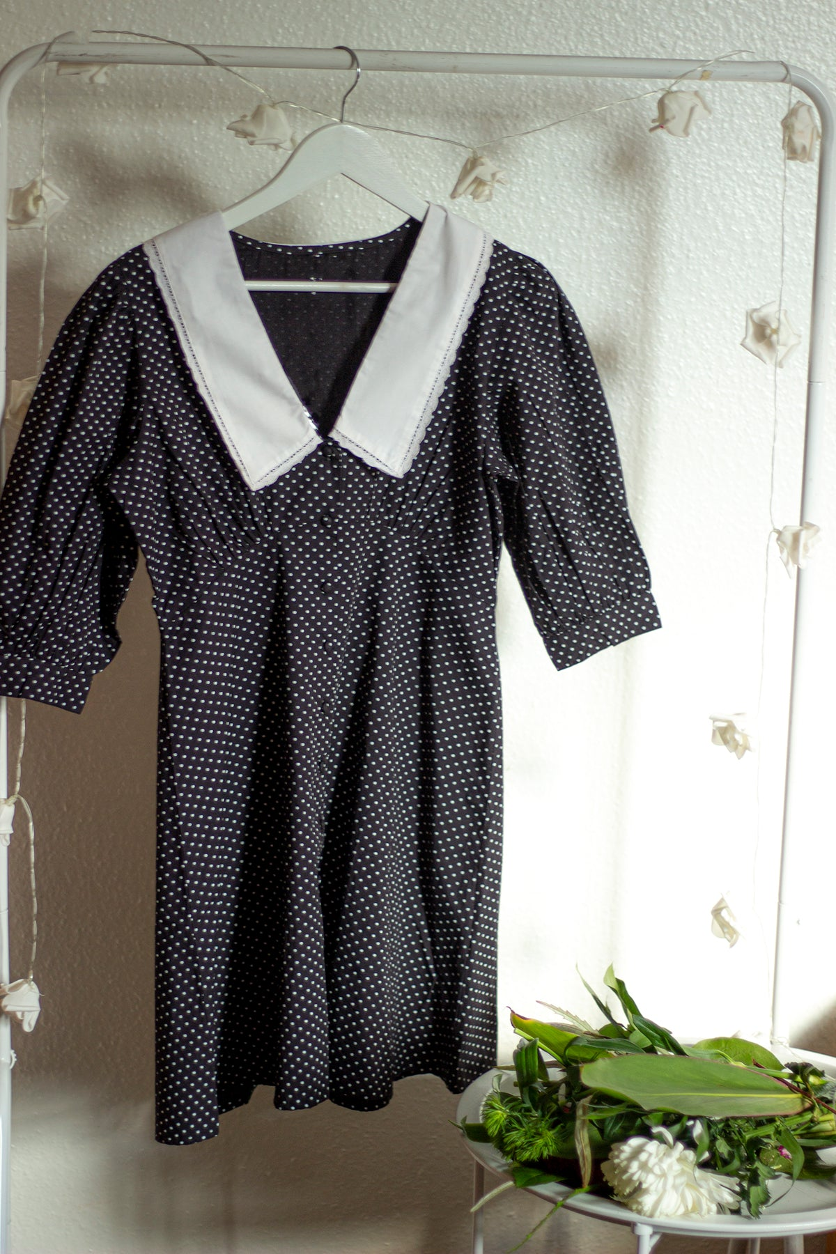 Peter Pan Collar Polka Dot Mini Dress - Sugar + Style