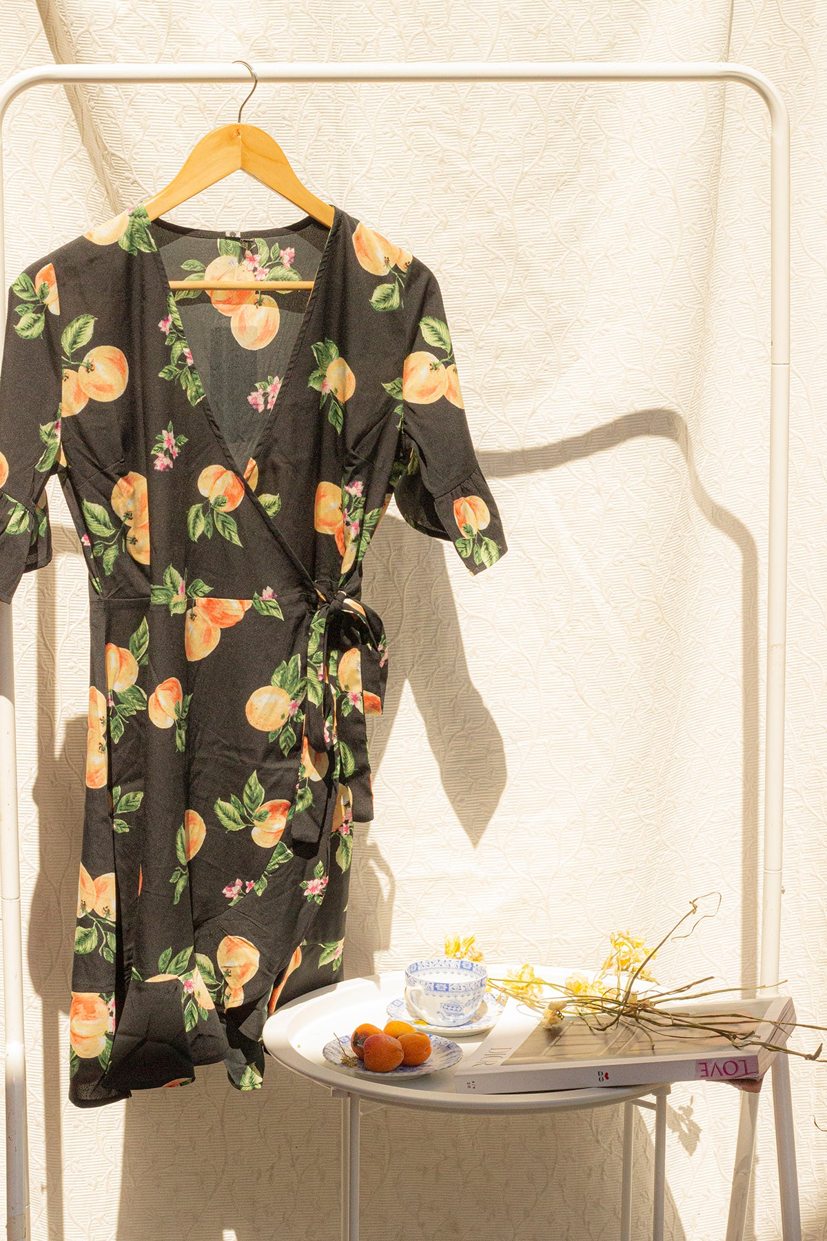 Peach Print Wrap Dress - Sugar + Style