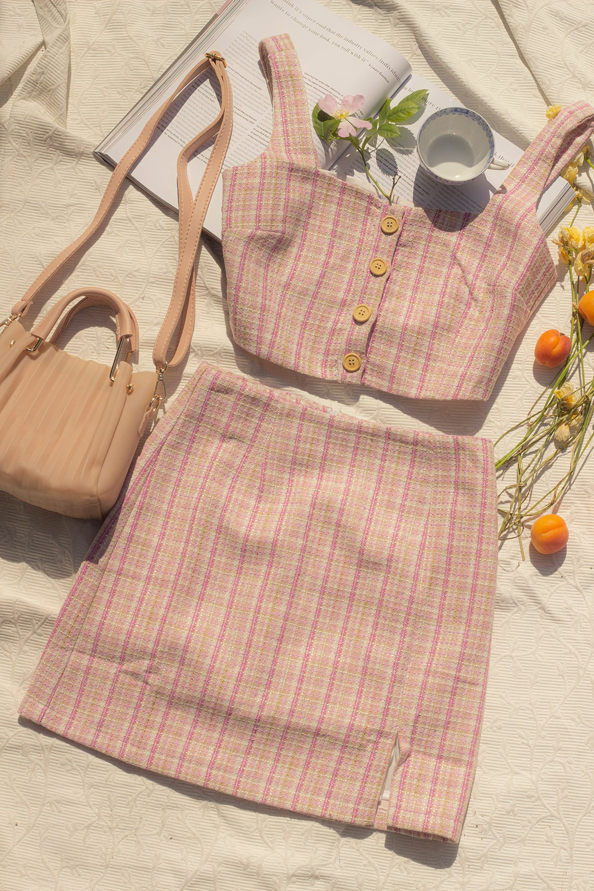 Pink Tweed Crop Top - Sugar + Style