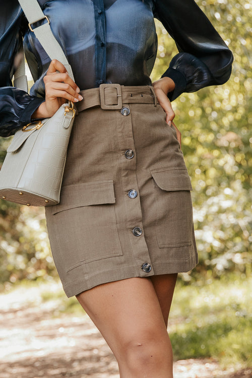 Utility Style Rustic Button Down A Line Skirt