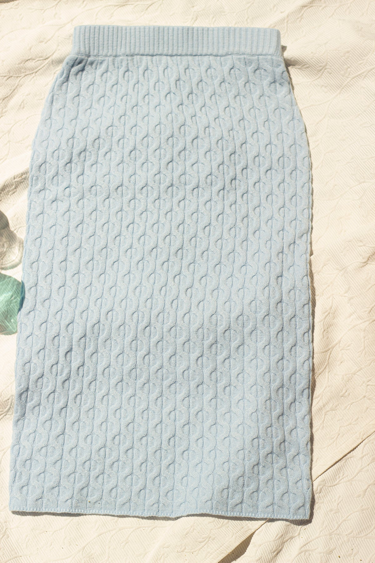 Blue Knitted Pencil Skirt - Sugar + Style
