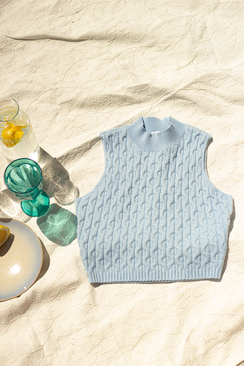 Blue Knit Sleeveless High Neck
