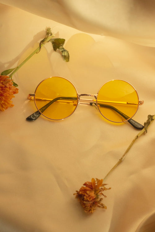 Yellow Tint Round Frame Sunglasses