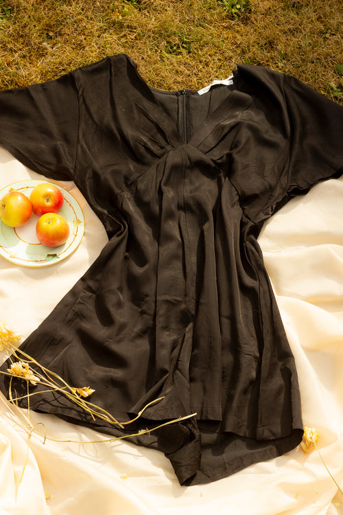 Silky Satin Feel Playsuit with Ruched Front