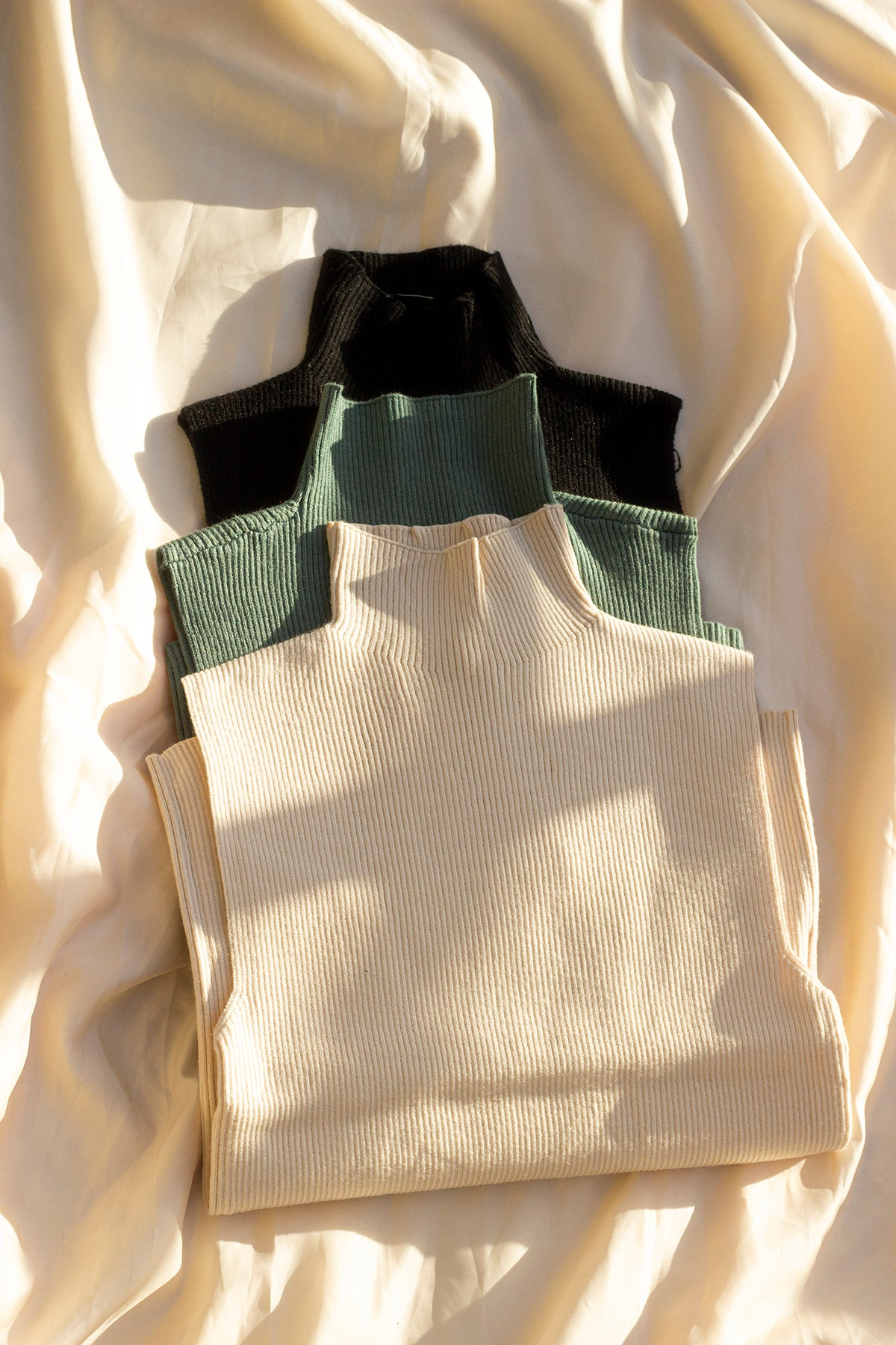 Green High Neck Ribbed Sweater Vest - Sugar + Style