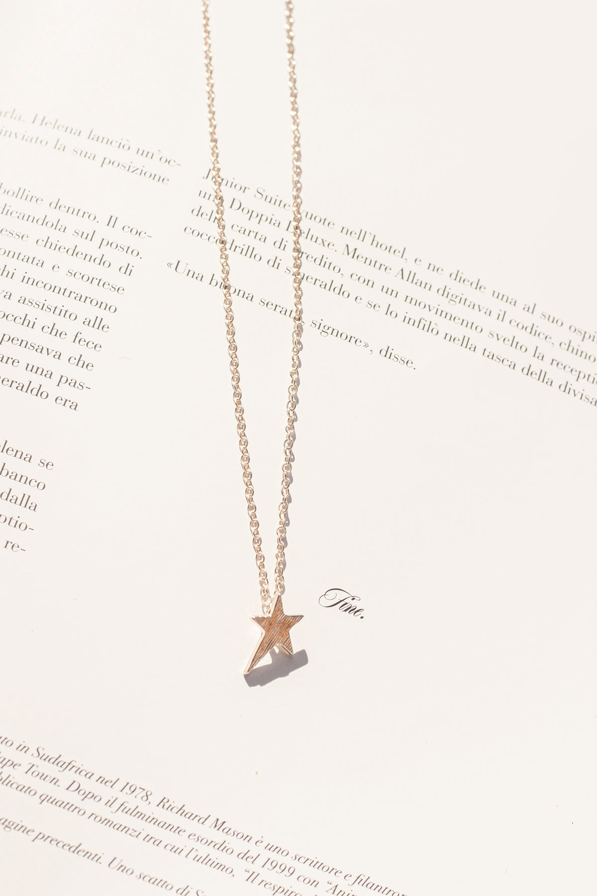 Rose Gold Shooting Star Motif Necklace - Sugar + Style