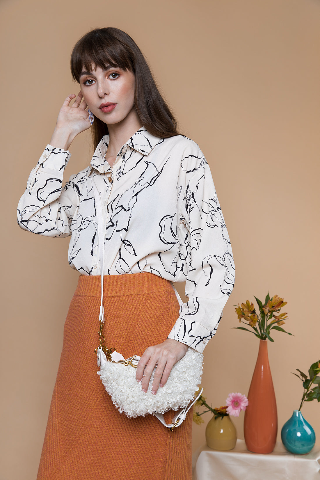 Wiggle Leaf Pattern Satin Style Blouse Cream - Sugar + Style