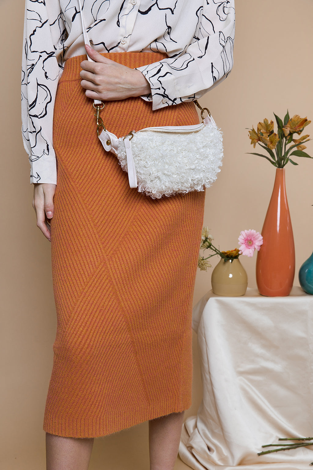 Knitted Long Pencil Skirt - Sugar + Style
