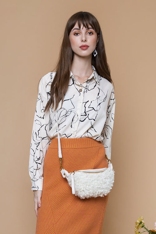 Wiggle Leaf Pattern Satin Style Blouse Cream