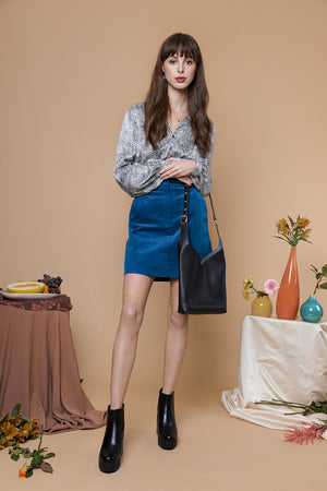 Cord Mini Pencil Skirt - Sugar + Style