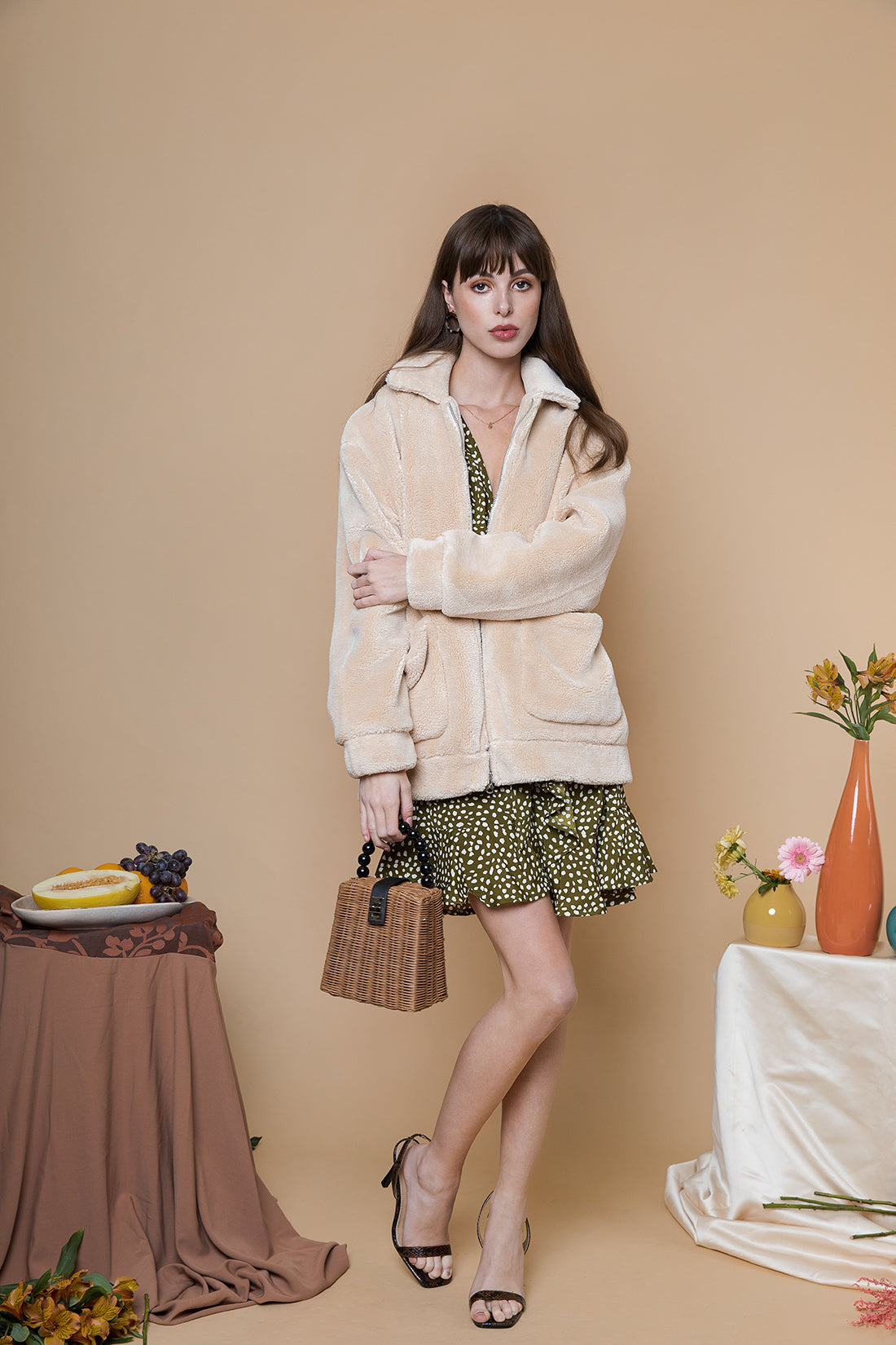 Midi Teddy Jacket with Oversize Pocket - Sugar + Style