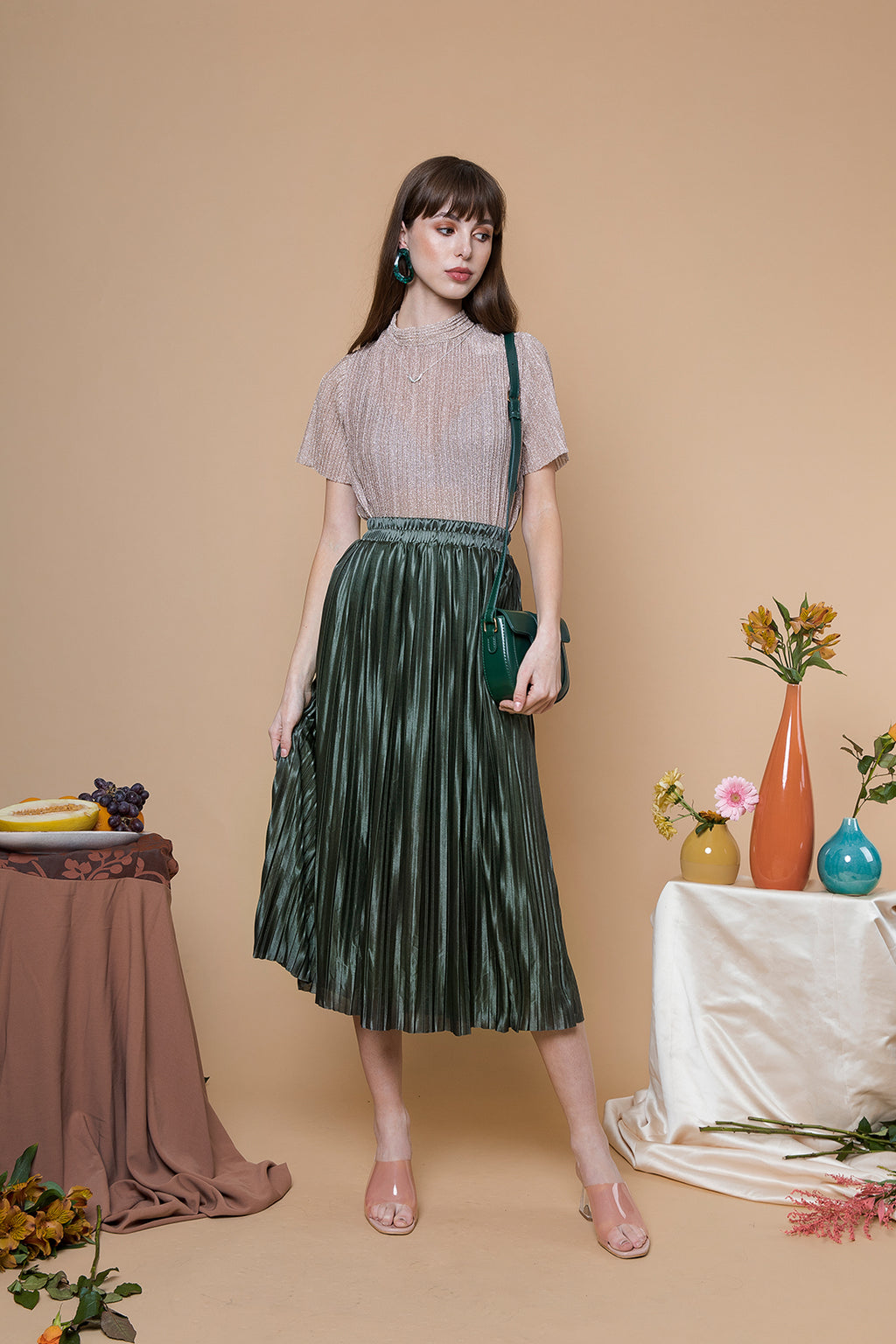 Pleated Midi Skirt - Sugar + Style