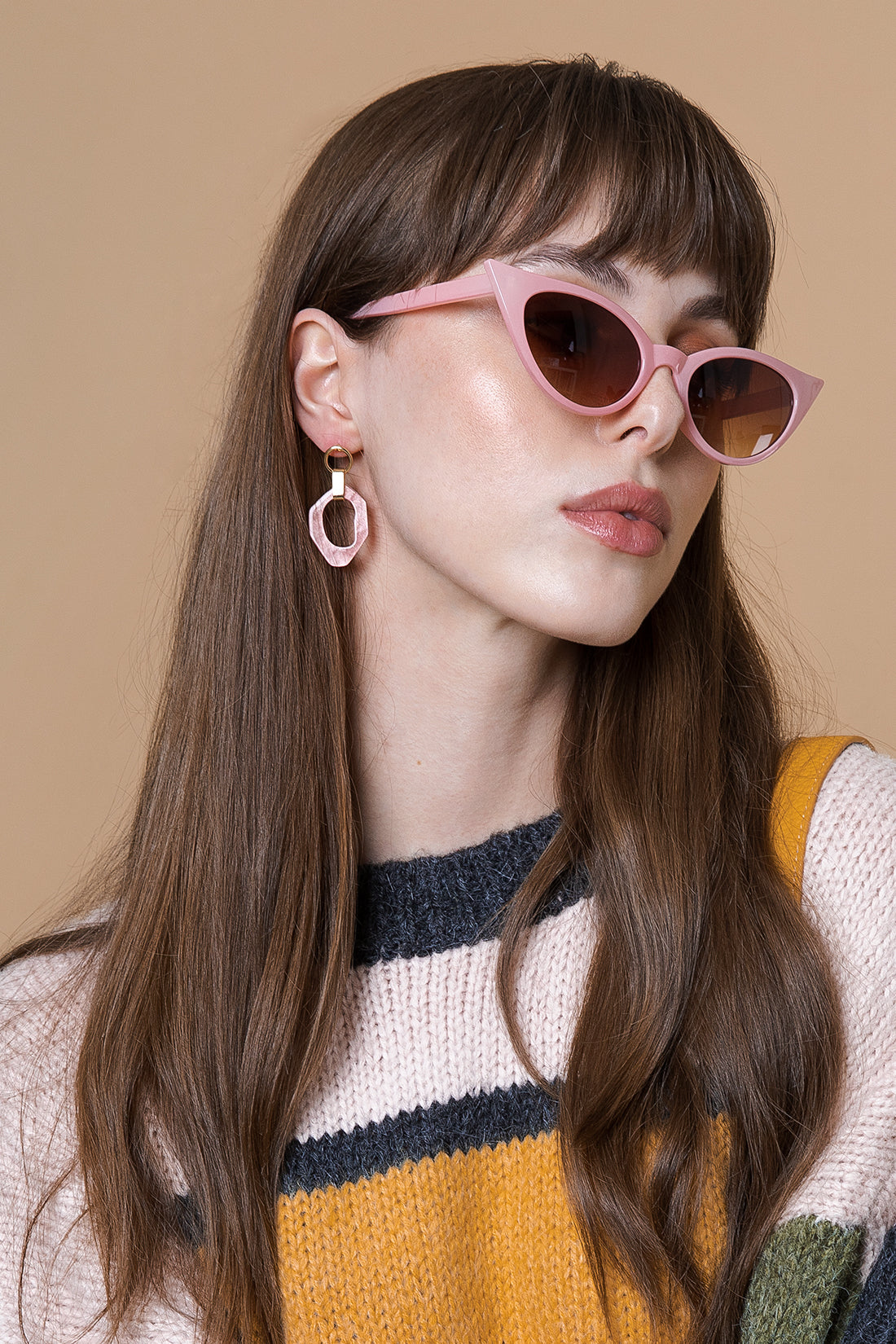 Wiggle Hoop and Gold Bar Drop Earrings - Sugar + Style